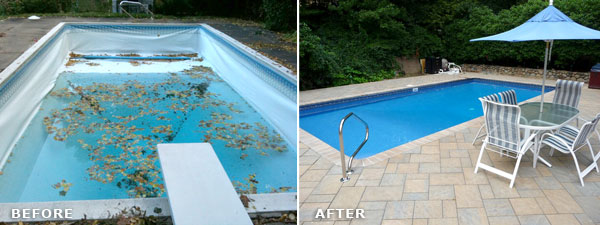 Vinyl Liner Renovation - Before and After