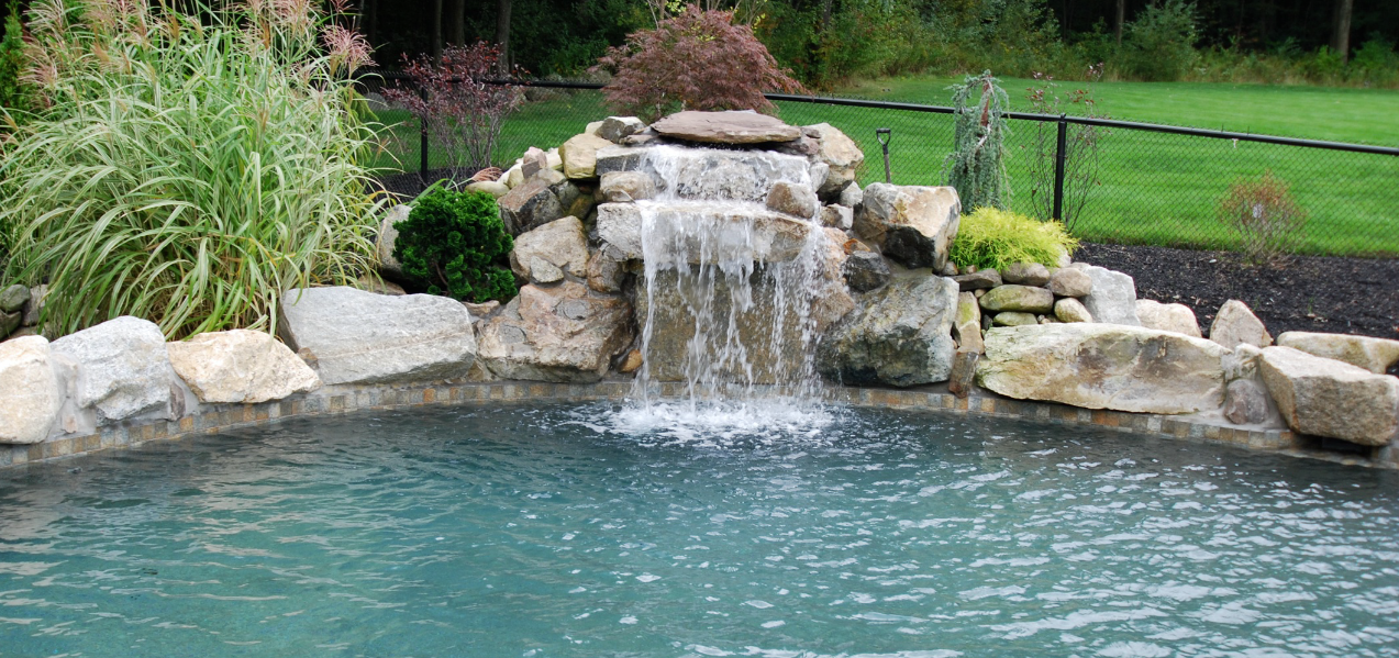 Natural Stone Coping with Waterfall
